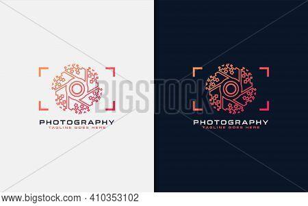 Creative Digital Photography Logo Design. Abstract Camera And Digital Lens Concept. Usable For Busin