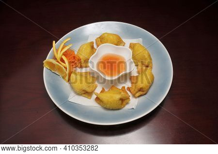 Authentic Traditional Japanese Cuisine Dish Known As Crab Rangoon
