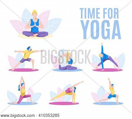 Time For Yoga Banner. Various People Practicing Yoga And Performing Yoga Postures Set. Healthy Lifes