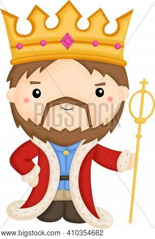 A Vector Of A Cute King With His Robe