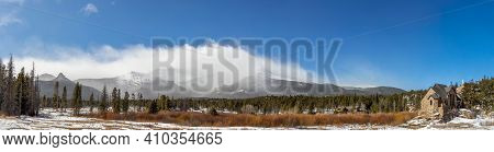 Panoramic View Of The Mountain Range And Saint Catherine\'s Chapel On The Rock. Church In The Rocky
