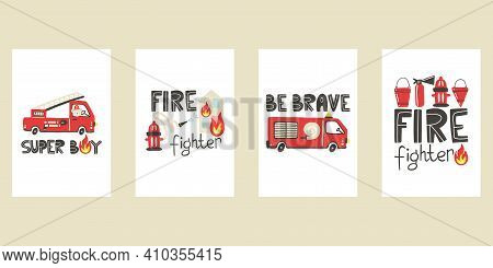 Firefighter Prints Collection. Fire Truck Car With Lettering. Baby Boy Hand Drawn Poster Trendy Scan