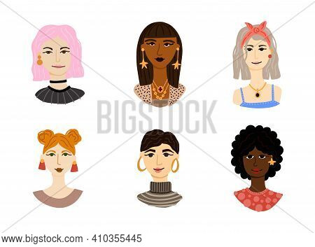 Female Portrait Set. Women Trendy Faces, Modern Multi Ethnic Girls Heads. Blonde, Brunette And Red H