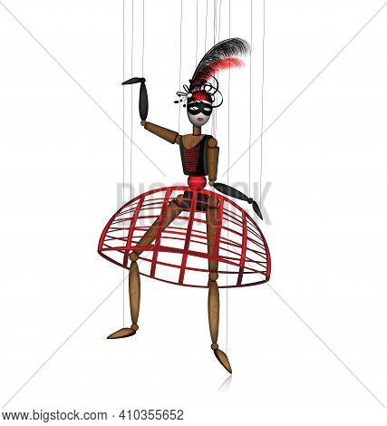 Vector Illustration White Background And Wooden Puppet In Black Red