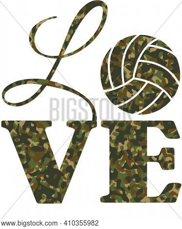 Love Camouflage Volleball in Green and Brown on White with Clipping Path
