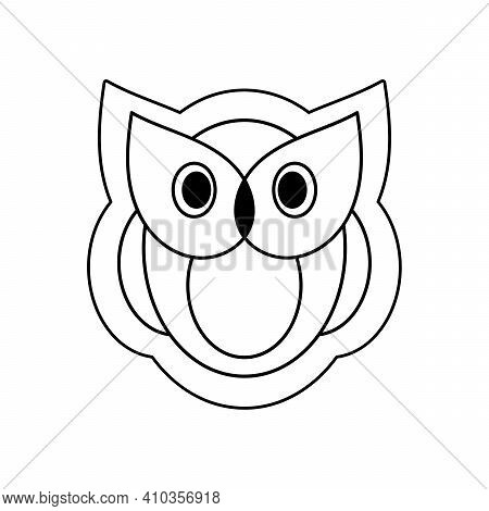 Cute And Funny Owl. Vector Illustration. A Wild Animal. Contour Logo, Icon. A Symbol Of Wisdom, Lear