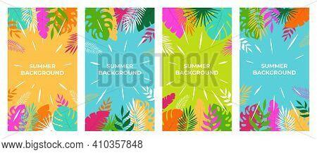 Summer Background Vector Summer Plant Design For Social Media Stories. Summer Background In Flat Sty