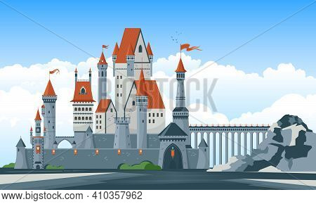 Beautiful Medieval Castle With Arched Windows Towers Turrets Bridge Gate Flat Vector Illustration