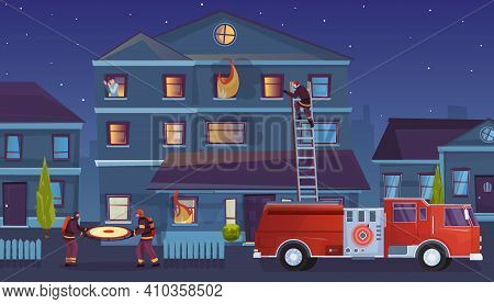 Firefighters Flat Composition With Outdoor Urban Landscape And Burning House With Firefighting Truck