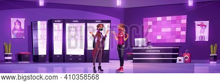 Cosmetic Shop Interior With Woman And Seller In Medical Face Masks. Vector Cartoon Illustration Of B