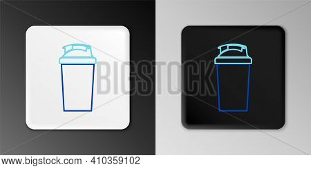 Line Fitness Shaker Icon Isolated On Grey Background. Sports Shaker Bottle With Lid For Water And Pr