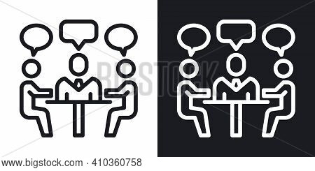 Meeting Or Teamwork Icon. Simple Two-tone Vector Illustration On Black And White Background