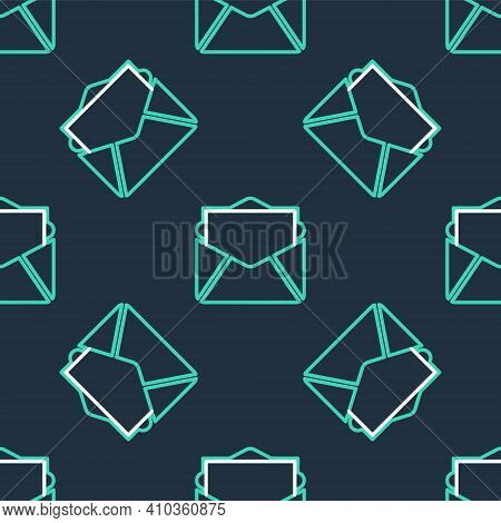 Line Mail And E-mail Icon Isolated Seamless Pattern On Black Background. Envelope Symbol E-mail. Ema