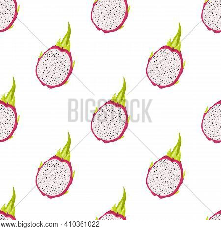 Seamless Pattern With Fresh Half Cut Red Pitaya Fruits Isolated On White Background. Summer Fruits F