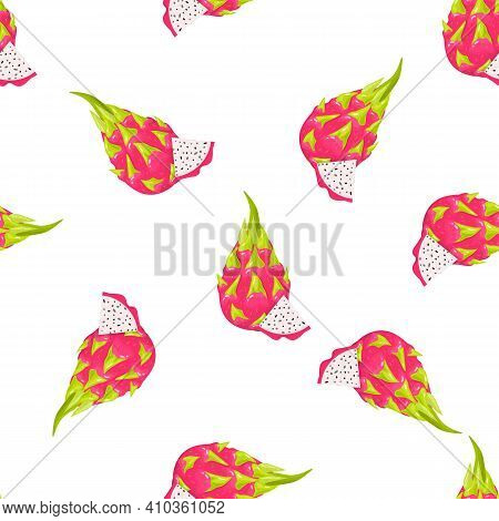 Seamless Pattern With Fresh Whole And Cut Slice Red Pitaya Fruits Isolated On White Background. Summ