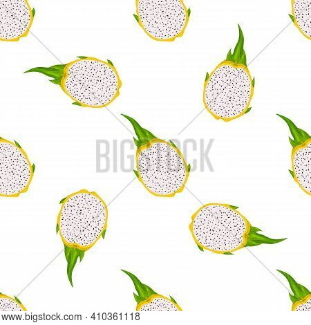 Seamless Pattern With Fresh Half Cut Yellow Pitaya Fruits Isolated On White Background. Summer Fruit