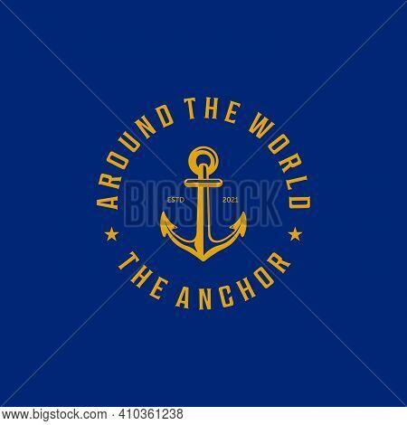 Emblem Of Ship Anchor Logo Vector Vintage , Illustration Design Of Ocean Concept With Boat Anchor