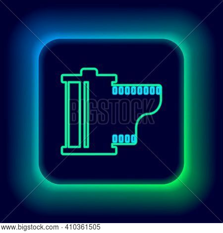 Glowing Neon Line Camera Vintage Film Roll Cartridge Icon Isolated On Black Background. Film Reel. 3