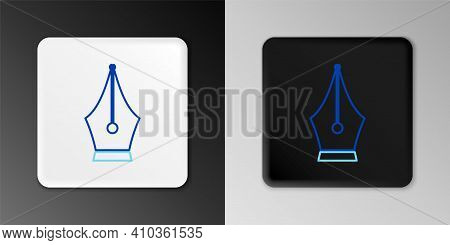 Line Fountain Pen Nib Icon Isolated On Grey Background. Pen Tool Sign. Colorful Outline Concept. Vec