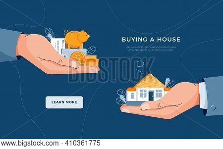 Buy A House Landing Page Template. Seller Gives House To Customer. Buyer Brings Money For Home Purch