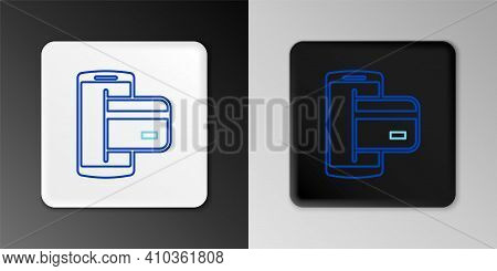 Line Nfc Payment Icon Isolated On Grey Background. Mobile Payment. Nfc Smartphone Concept. Transfer
