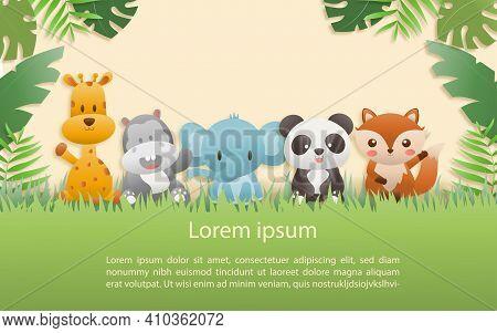 Birthday Animals Card. Greeting Cards With Cute Safari Or Jungle Animals Giraffe, Hippo, Fox, Elepha
