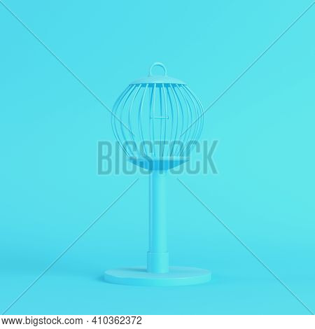 Bird Cage On Bright Blue Background In Pastel Colors. Minimalism Concept. 3d Render