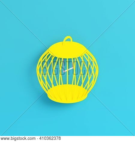 Yellow Bird Cage On Bright Blue Background In Pastel Colors. Minimalism Concept. 3d Render