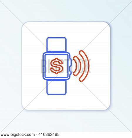 Line Contactless Payment Icon Isolated On White Background. Smartwatch With Nfc Technology Making Wi