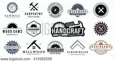 Set Bundle Carpentry Vector Logo, Design Illustration Carpenter Vintage Line Art, Hammer Steel Saws