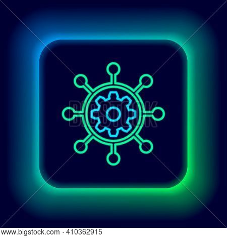 Glowing Neon Line Project Management Icon Isolated On Black Background. Hub And Spokes And Gear Soli