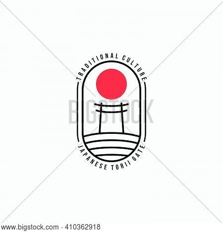 Simply Emblem Torii Gate Line Art Vector Logo, Illustration Design Of Japanese Traditional Temple Cu