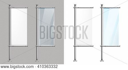 Glass Banners, Ad Stands On Metal Poles, Vertical Blank Signboards For Outdoor City Advertising. Bla