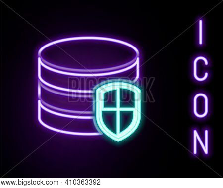 Glowing Neon Line Database Protection Icon Isolated On Black Background. Secure Database Icon. Color