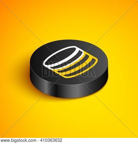 Isometric Line Database Icon Isolated On Yellow Background. Network Databases, Disc With Progress Ba
