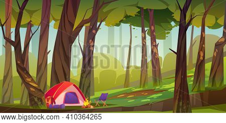 Camping Tent With Campfire And Tourist Stuff In Forest, Traveler Halt With Backpack, Chair And Mat O