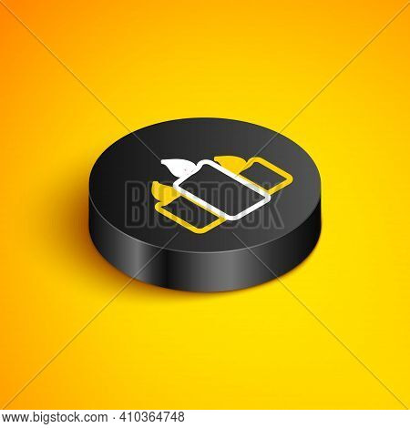 Isometric Line Burning Candles Icon Isolated On Yellow Background. Old Fashioned Lit Candles. Cylind