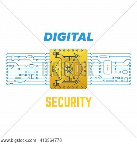Digital Golden Safe With Circuit. Digital Security Concepts. Safe And Radio Parts Connected To Micro