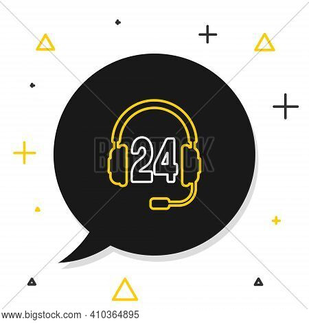 Line Headphone For Support Or Service Icon Isolated On White Background. Consultation, Hotline, Call