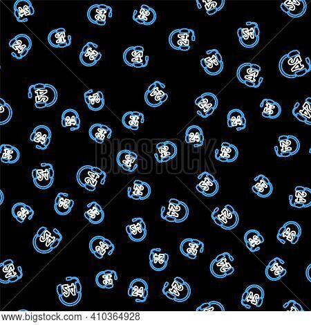 Line Headphone For Support Or Service Icon Isolated Seamless Pattern On Black Background. Consultati