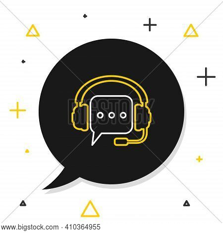Line Headphones With Speech Bubble Icon Isolated On White Background. Support Customer Services, Hot
