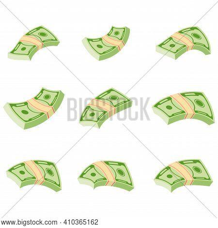 Flying Wad Of Money. Flat Vector Cartoon Money Illustration.