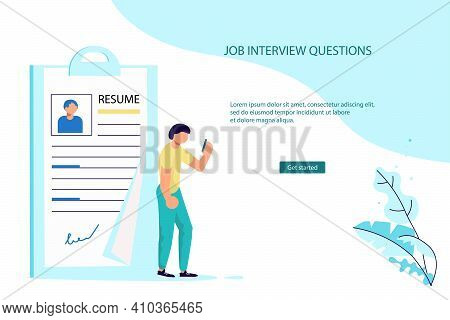 Landing Webpage Template Of Work Hiring Concept For Recruitment Agency. Tiny Woman Select A Resume F