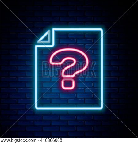 Glowing Neon Line Unknown Document Icon Isolated On Brick Wall Background. File With Question Mark.