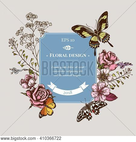 Badge Design With Colored Shepherd S Purse, Heather, Iris Japonica, Sakura, Gypsophila, Almond, Lemo