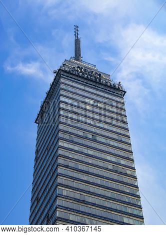 Mexico City, Mexico. Feb 24, 2021. Mexican Skyscraper In Spanish: Torre Latinoamericana. A Skyscrape