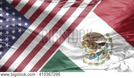 American And Mexican Flag. Usa And Mexico Flag