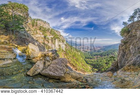 Panoramic View From Top Of The Uchan-su Waterfall, That Falls From The High Rock Mountain Ah-petri I