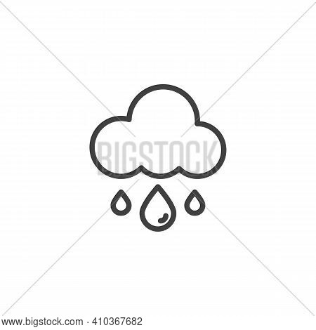 Rain And Cloud Line Icon. Linear Style Sign For Mobile Concept And Web Design. Cloud With Raindrop O