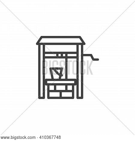 Water Well Line Icon. Linear Style Sign For Mobile Concept And Web Design. Well And Water Bucket Out